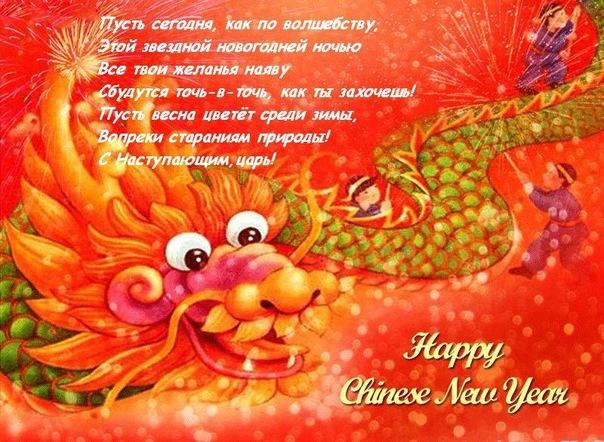 Китайкая змея поздравляет с Новым годом