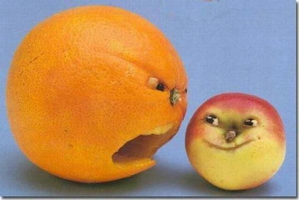 Злой апельсин и доброжелательное яблочко