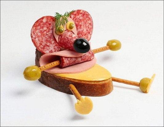 Бутерброд в виде мышонка